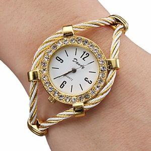 Diamante Gold Tone Womens Watch Cuff